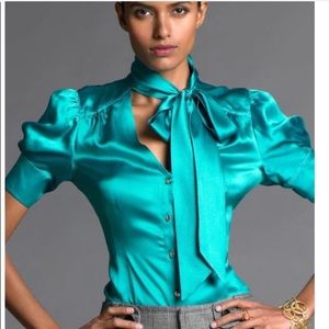 BANANA REPUBLIC Chic 100% Silk Neck Tie Blouse Med